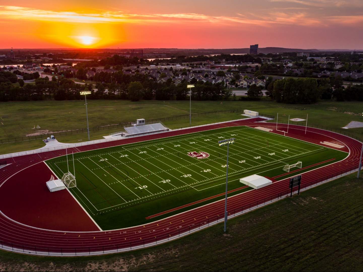 Bond dollars at work: A view of the new athletic field and track facility at Jenks Middle School which can be used for multiple sports - football, soccer, lacrosse - as well as band and many other community events. The facility was fully funded by bond funds approved in 2018.