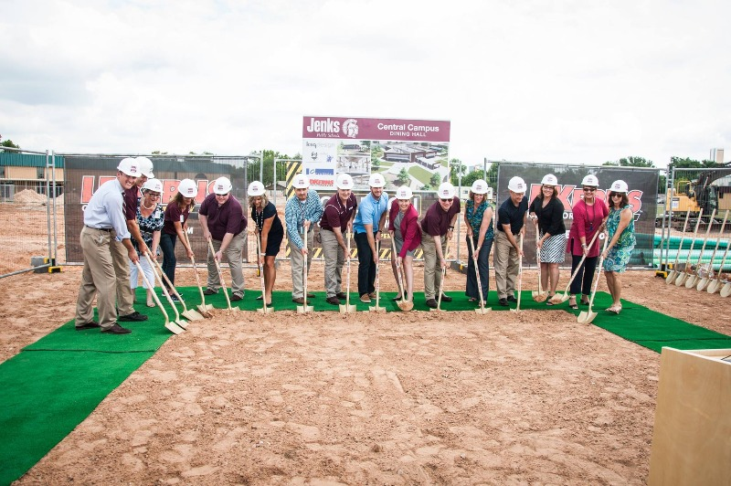 JPS officials join representatives from LDKerns Contractors, KSQ Design, Cyntergy, and Wallace Engineering to break ground on the new Central Campus Dining Hall which will be completed for the beginning of the 2017-18 school year.