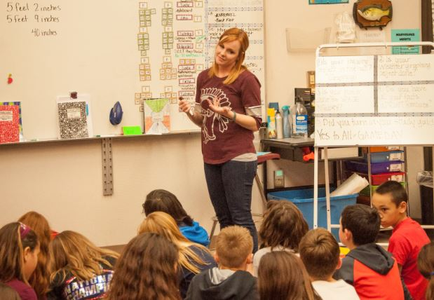 Moriah Widener (above) is pictured addressing her students at Jenks West Intermediate.