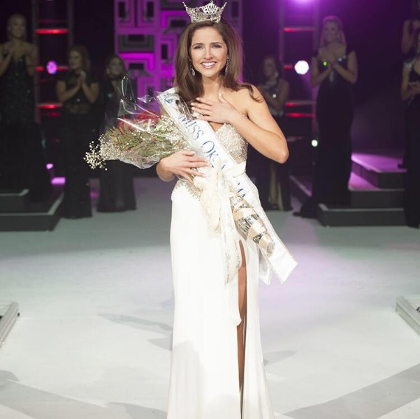 Georgia Frazier reacts to winning the Miss Oklahoma pageant in 2015.