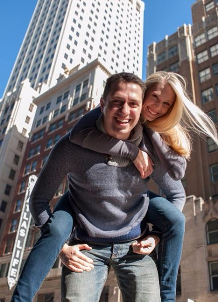 Kayvon Olomi ('04), pictured with wife, Hillary, earned Forbes 30 Under 30 distinction for his work in the technology sector.