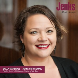 Shala Marshall, Spanish teacher at Jenks High School, is one of 12 finalists for 2018 Oklahoma Teacher of the Year.