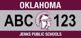 A mock-up of the Jenks Public Schools license plate now available for pre-order. (design is subject to change)