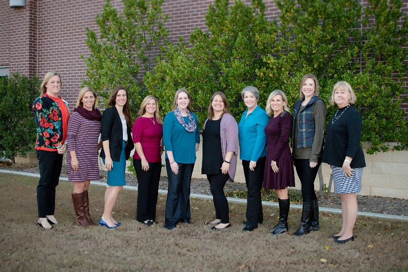 JPS' 2017-18 Site Teachers of the Year from left to right: Rachel Hughes (SE), Mindy Miles (AC), Elle Fowler (WI), Ashley Mackey (EI), Jacqueline Novotny (WE), Emily Stewart (FA), Lynn Goodrich (NW), Amy Greenhaw (HS), Erica Housley (EE), Dana Stokes (MS)