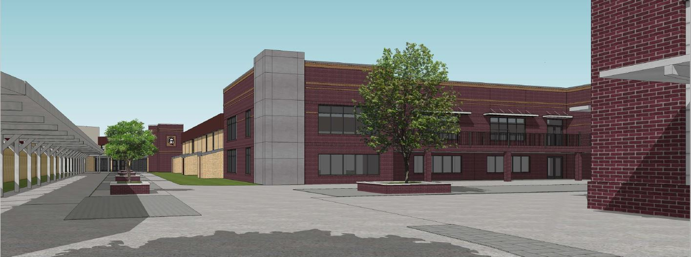 Bond dollars at work: A rendering of completed renovations and construction to Jenks HS Building 5 including expanded space for classrooms and Media Center, paid for by passage of previous bond issues.