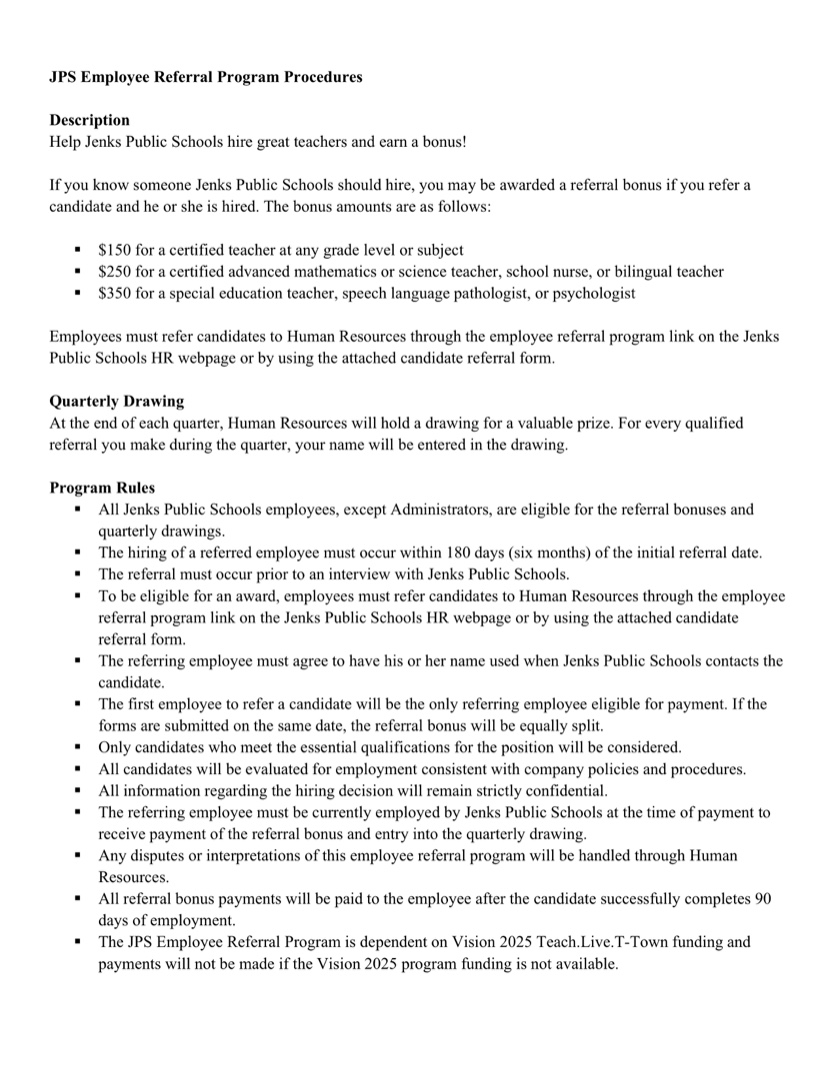 Employee Referral Form Template from www.jenksps.org