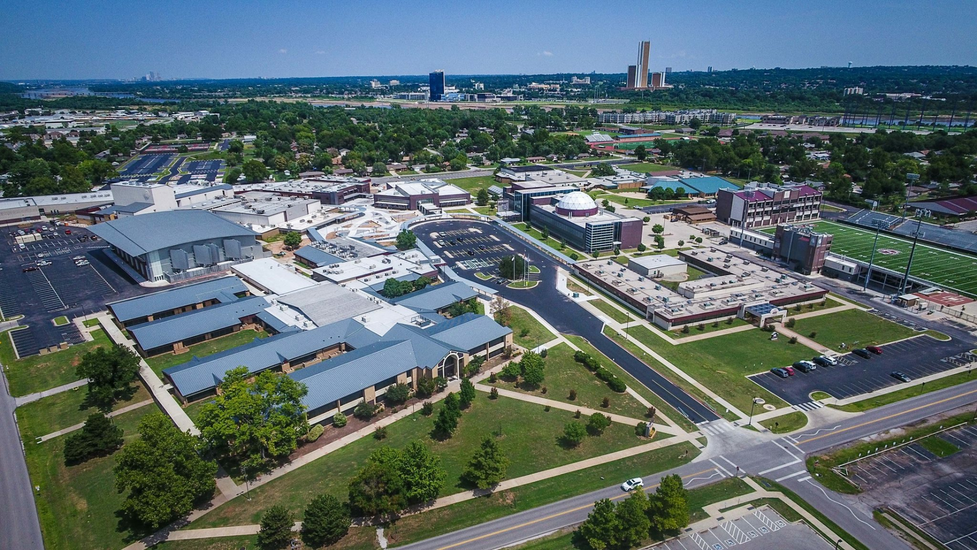 An aerial view of Jenks' Central Campus featuring Jenks High School, Freshman Academy, and Alternative Center.